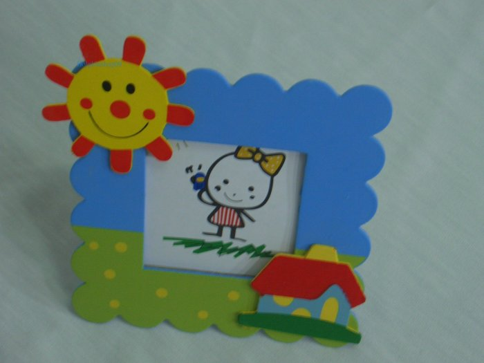 Wooden Colourful Sun and House Photo Frame