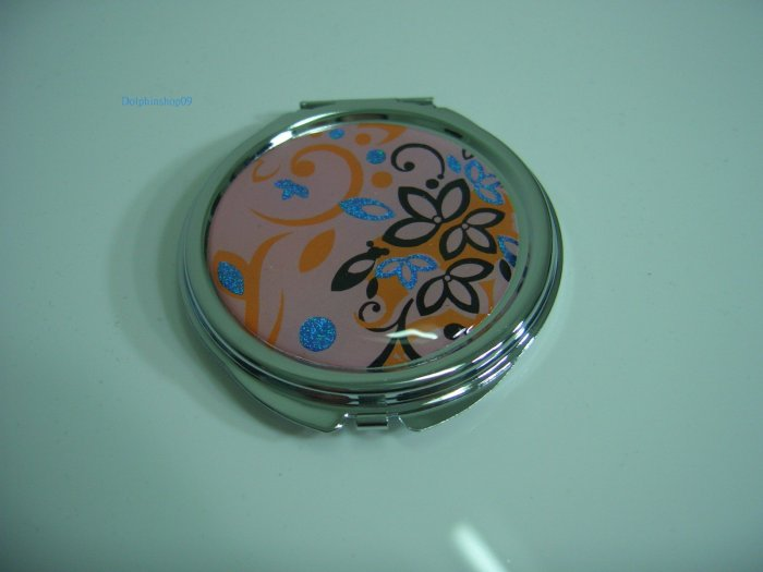 Round Pink Flower Make Up Cosmetic Mirror Case