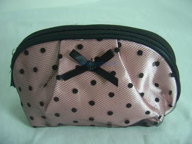 Pink Black Dot Lace Make Up Cosmetic Bag w/ Mirror