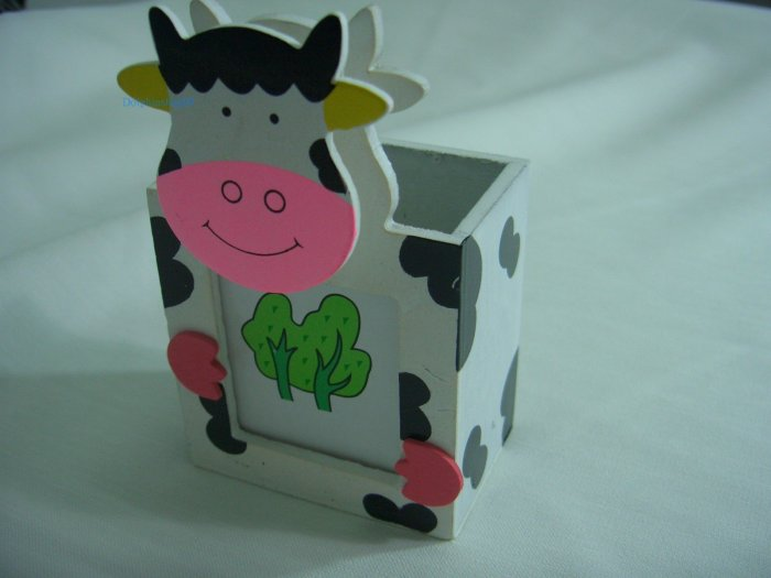 Wooden Cartoon Cow Pen and Pencil Holder Memo Clip Photo Frame 3 in 1