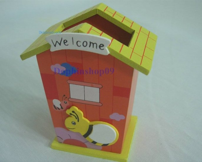 Wooden Orange Cartoon House Bee Pen and Pencil Holder