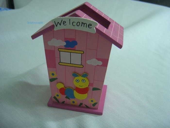 Wooden Pink Cartoon House Worm Pen and Pencil Holder