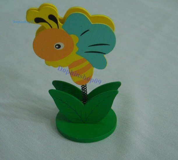 Wooden Cartoon Bee Name Card Memo Clip