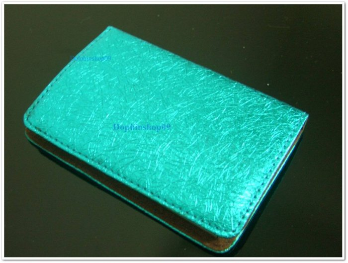 Shining BLue Slide Business Name Card Holder
