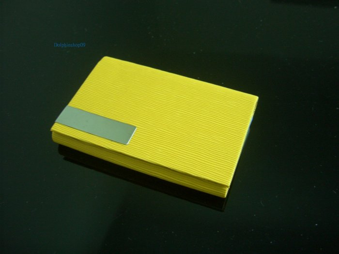 Yellow Leather Slide Business Name Card Holder