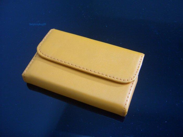 Orange Leather Slide Business Name Card Holder