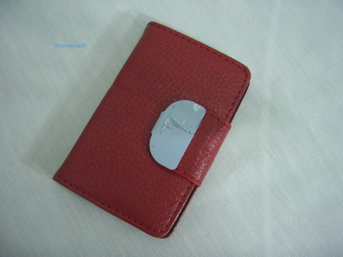Red Leather Business Name Card Holder