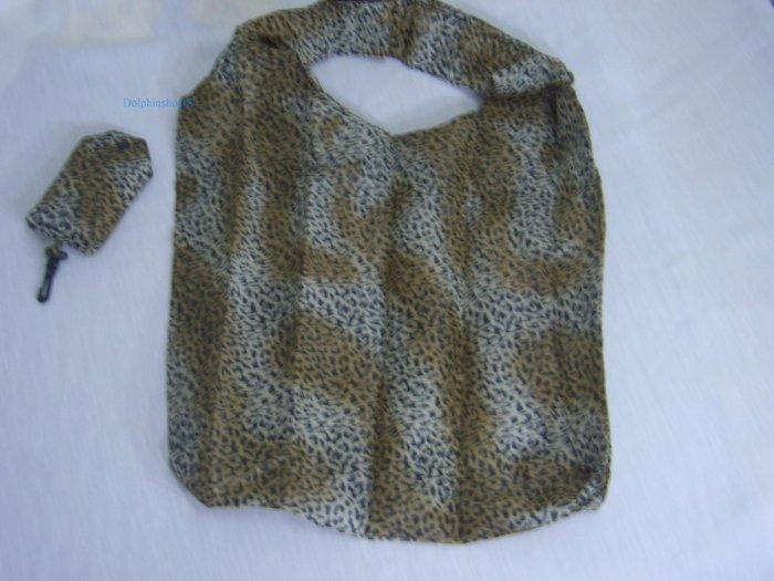 Pocket Foldable Black Brown Leopard Eco Tote Nylon Shopping Bag