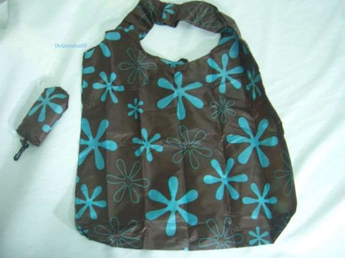 Pocket Foldable Brown Flower Nylon Eco Tote Shopping Bag