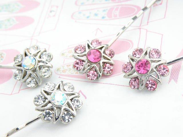 Vintage Crystal Flower Thread Clip  4Colors 1pc