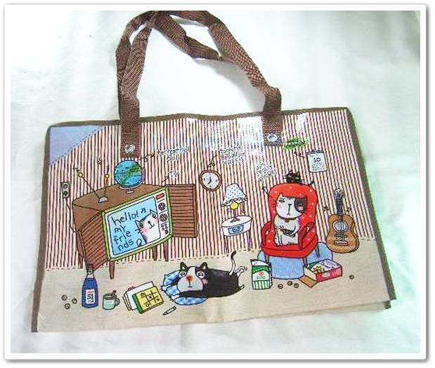 Brown Cat Strip Nylon Travel Luggage Shopping Eco Tote Bag