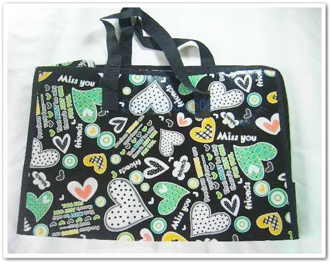Black Colorful Heart Travel Luggage Shopping Eco Tote Bag