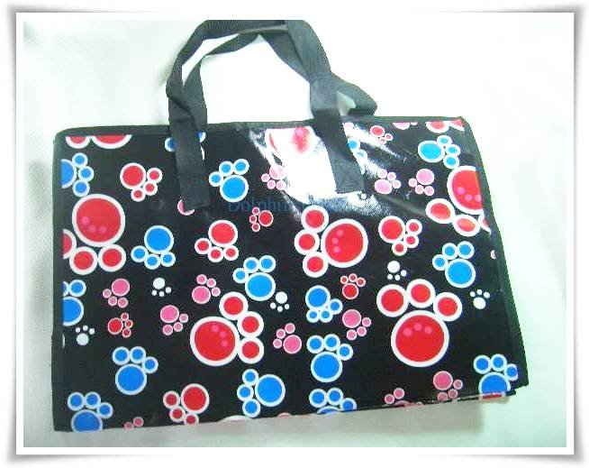 Black Colorful Footprint Nylon Luggage Tote Shopping Tote Bag