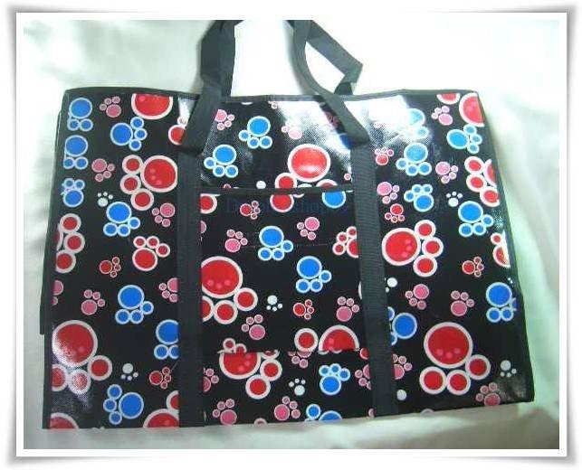 Black Footprint Nylon Travel Luggage Eco Shopping Tote Bag