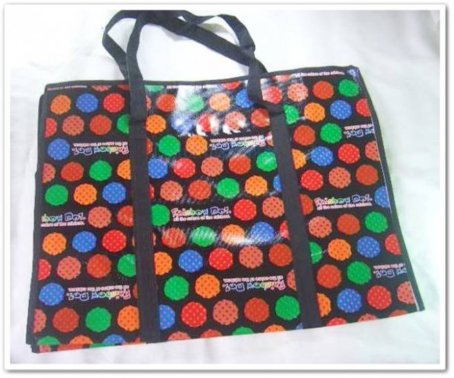 Black Colorful Dot Travel Luggage Shopping Eco Tote Bag