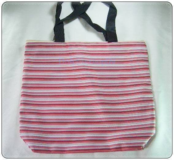 Red Strip Tote Canvas Shopping Tote Bag