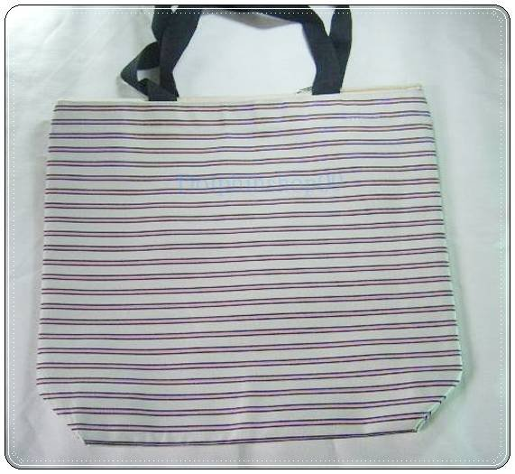 Beige Pink Strip Canvas Shopping Eco Tote Bag