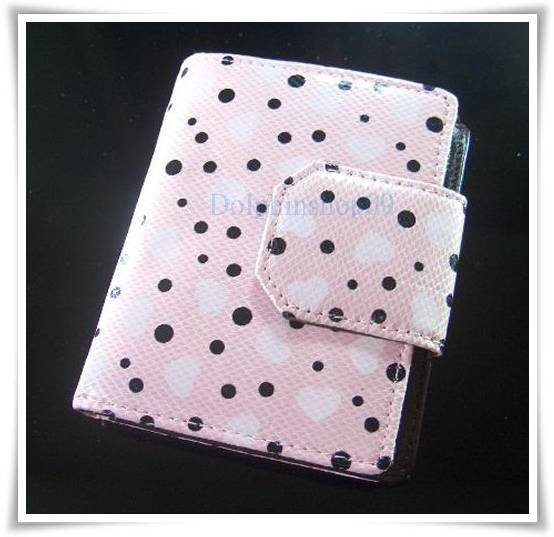 Pink Black Dot Patent Leather Wallet Purse Store Credit Card Coin