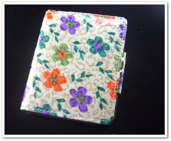 Light Green Patent Leather Flower Wallet Purse Store Credit Card Coin