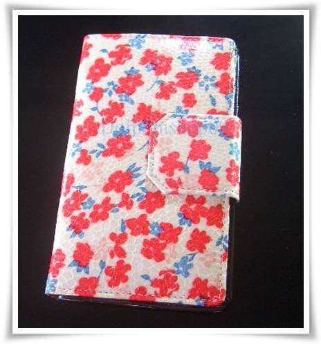 Red Flower Patent Leather Wallet Purse Store Credit Card Coin