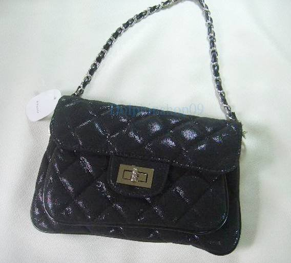 Black Patent Leather Evening Shoulder Hand Bag w/ Long Chain