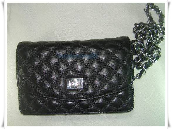 Black Leather Messengaer Clutch Bag  2 in 1