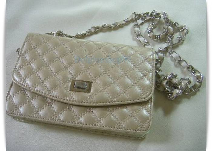Light Gold Leather Messengaer Clutch Bag  2 in 1