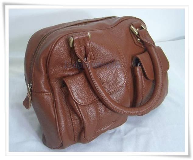 Brown Genuine Leather Shoulder HandBag