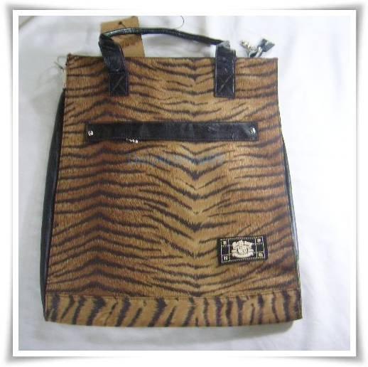 Black Brown PU Leather Tiger Shoulder Bag