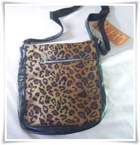Black Brown PU Leather  Leopard Messenger Bag