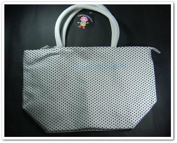 White Colorful Dot Canvas Shoulder School Tote Bag w/ Pouch
