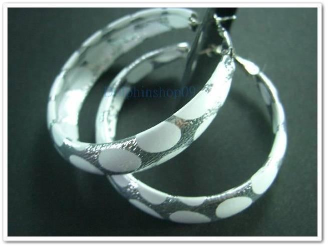 Silver White Dot C Ring Hoop Earrings Diameter 4.5cm