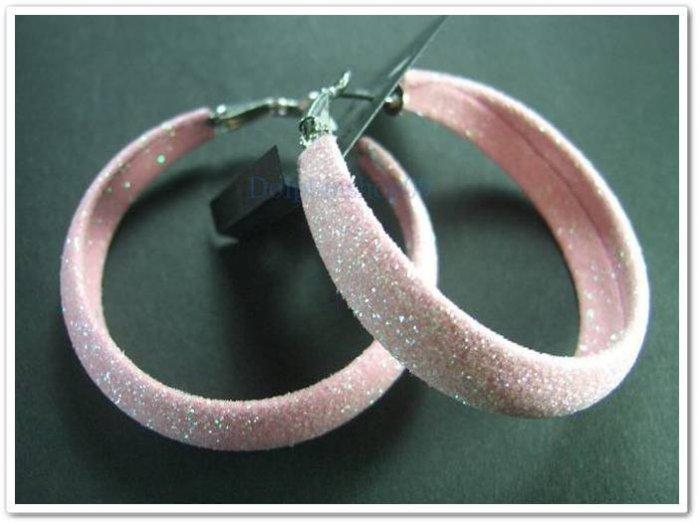 Shining Pink C Ring Hoop Earrings Diameter 4.5cm