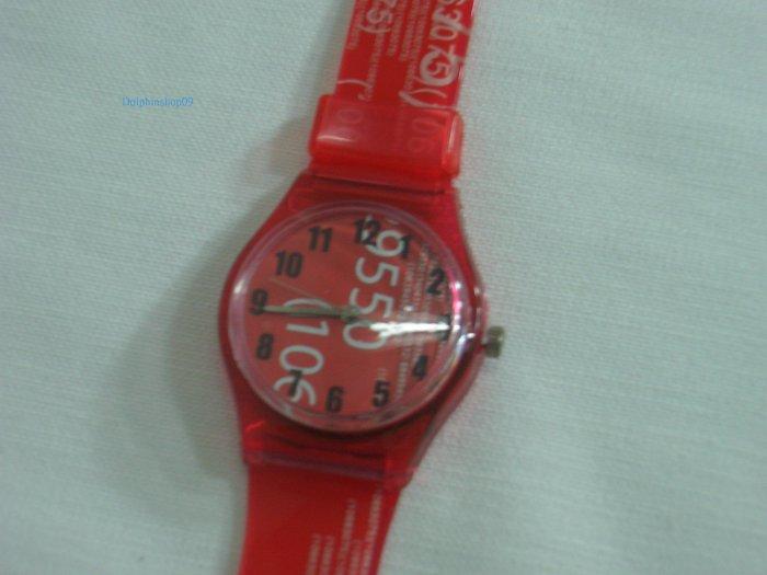 Red Number Round Case Plastic Quartz  Wrist Watch w/ Battery