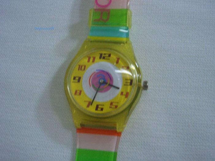 Yellow Strip Round Case Plastic Quartz  Wrist Watch w/ Battery