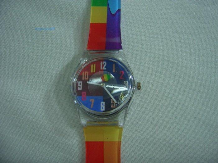 Blue Square Round Case Plastic Quartz  Wrist Watch w/ Battery