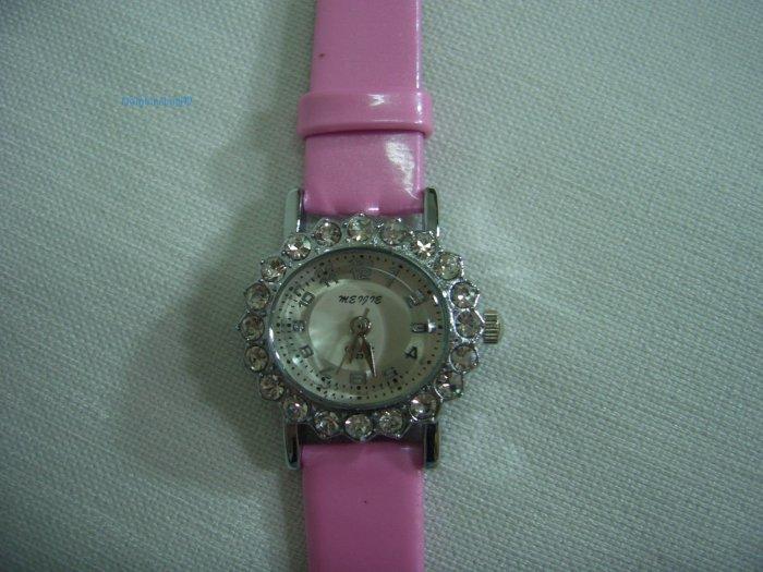 Pink Leather Oval Antique Stone Quartz Wrist Watch