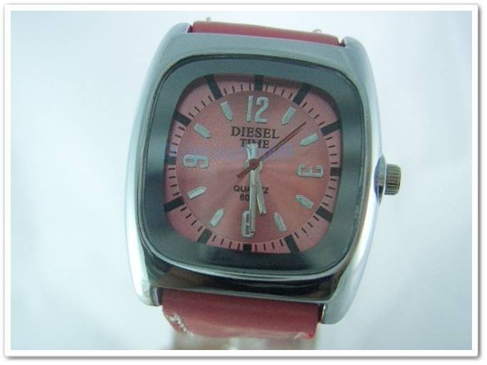Pink Square Case Leather Band Arabic Wrist Watch