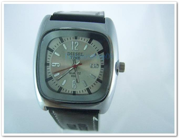 Square White Case Black Leather Band Arabic Wrist Watch