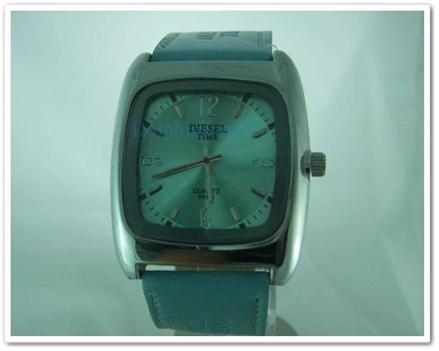 Light Blue Square Case Leather Band Arabic Wrist Watch