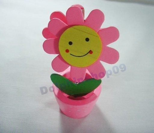 Pink Wooden Desktop  Flower Memo Name Card  Clip