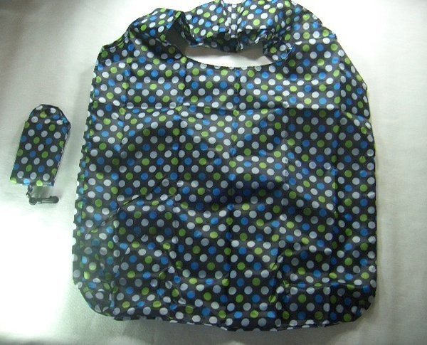 Pocket Foldable Blue Colorful Dot Nylon Econ Shopping Tote Bag w/ Clip
