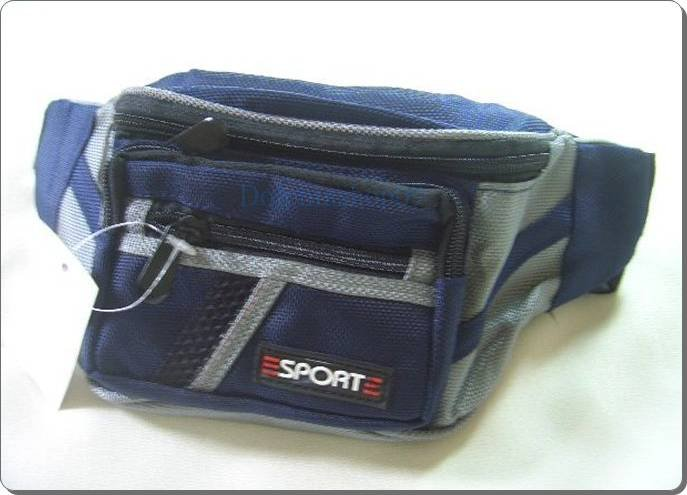 Blue Nylon Travel Pack Pouch Waist Bag Case