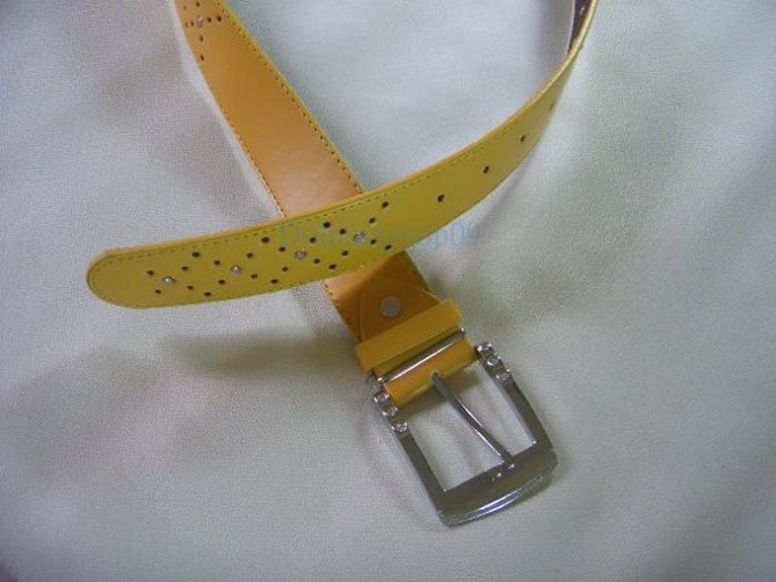 Yellow Thick Leather Waist Belt Stone 32inch - 36inch