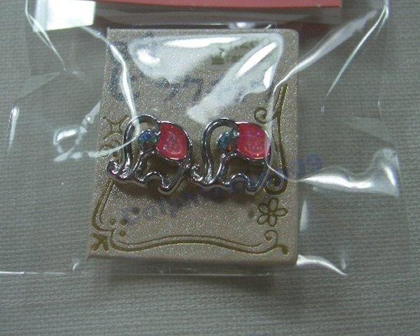 Pink Elephant Magnetic Earrings