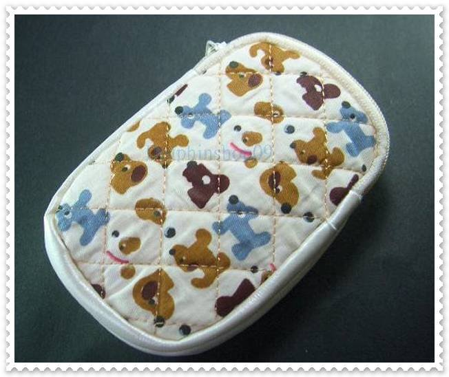 Beige Colorful Dog Cell Phone Bag Case Pouch W/ Strap