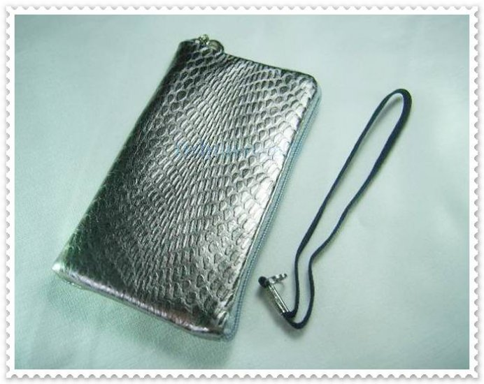 Shining Silver Cell Phone Bag Case Pouch w/ Strap
