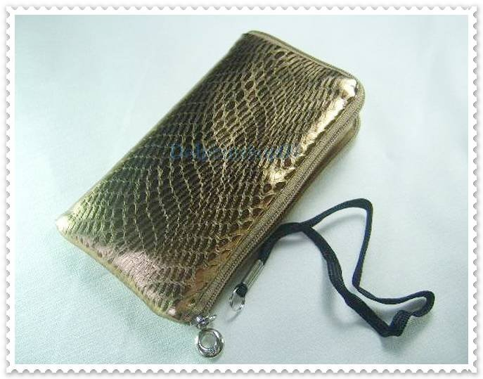 Shining Gold Cell Phone Bag Case Pouch w/ Strap