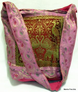 Bohemian Style Jacquard Silk Multi Color Bag/Handbag with Elephant and Peacock Design