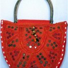 Bohemian Style Orange Color Gypsy Boho Handbag with Mirrorwork